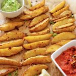 Potato Wedges, Avocado Dip + Fresh Tomato Salsa